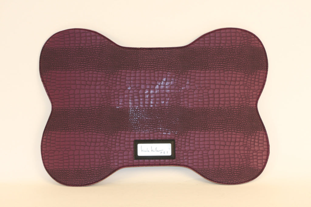 Purple Croc Faux Leather Bowl Mat