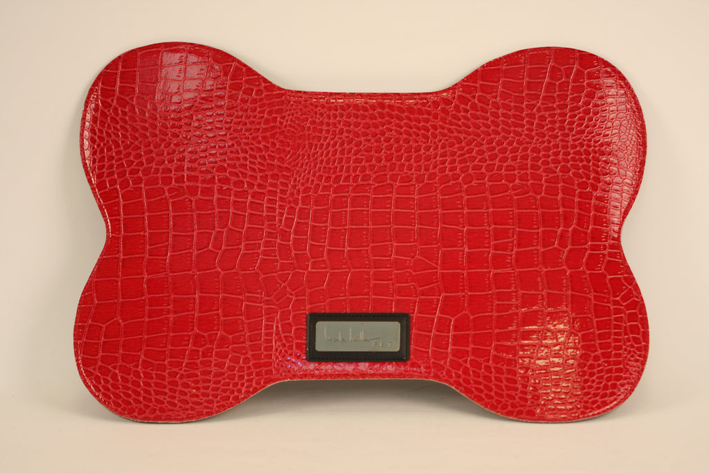 Red Croc Faux Leather Bowl Mat