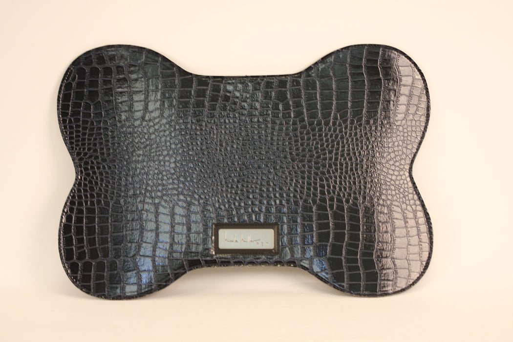 Dark Blue Croc Faux Leather Bowl Mat