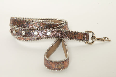 Iridescent Metallic Crack leather dog leash (Rose Gold)