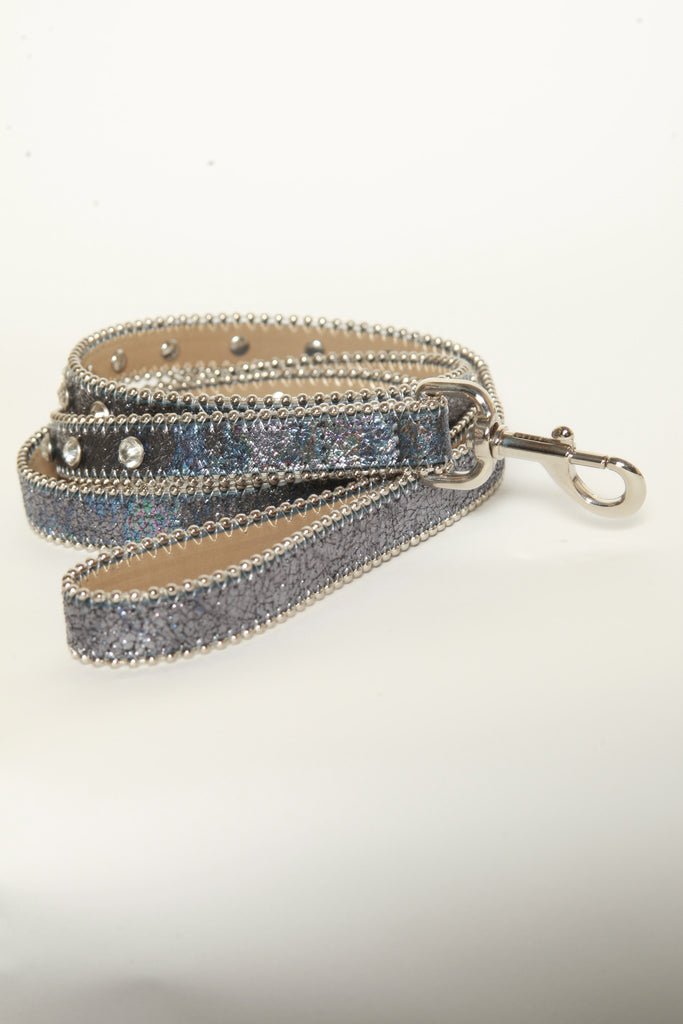 Iridescent Metallic Crack leather dog leash (Blue)