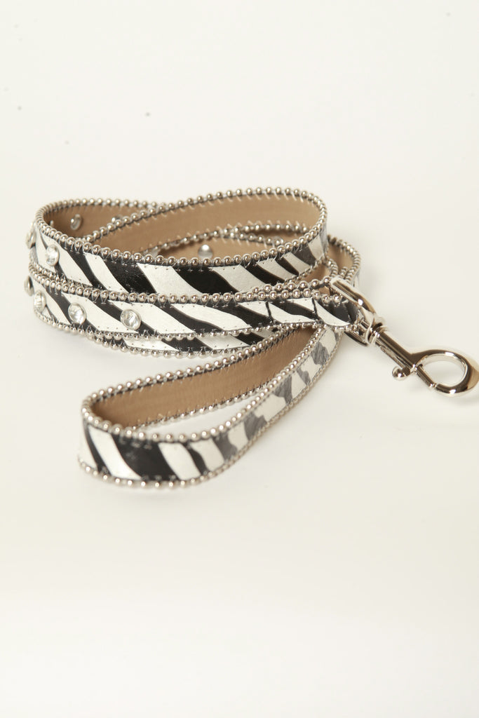 Animal Zebra Print Rhinestone Leather Dog Leash