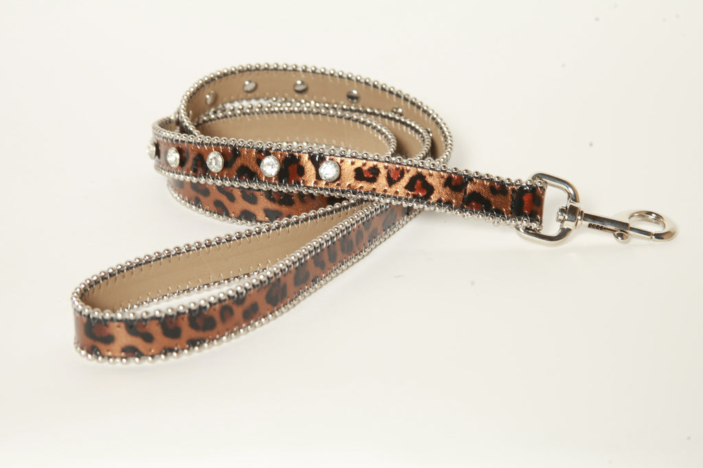 Animal Leopard Print Rhinestone Leather Dog Leash