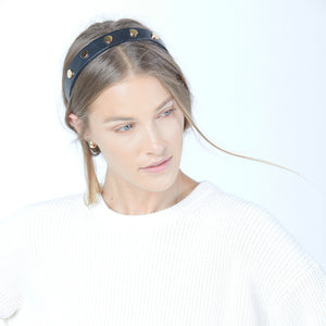 The Statement Headband | Black/Brushed Gold