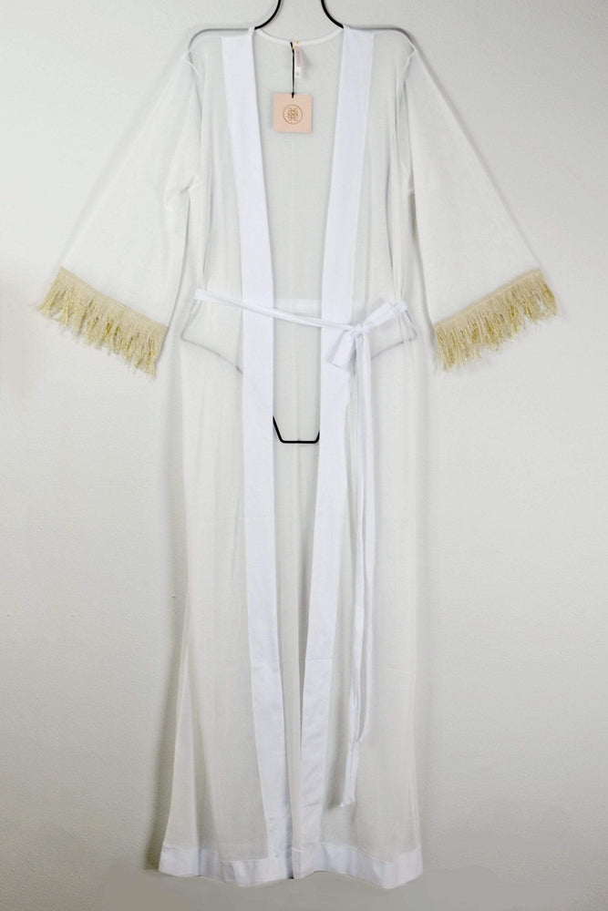 Aguaclara Swimwear White w/ Gold Sparkle Fringe Long Cape Cover-Up