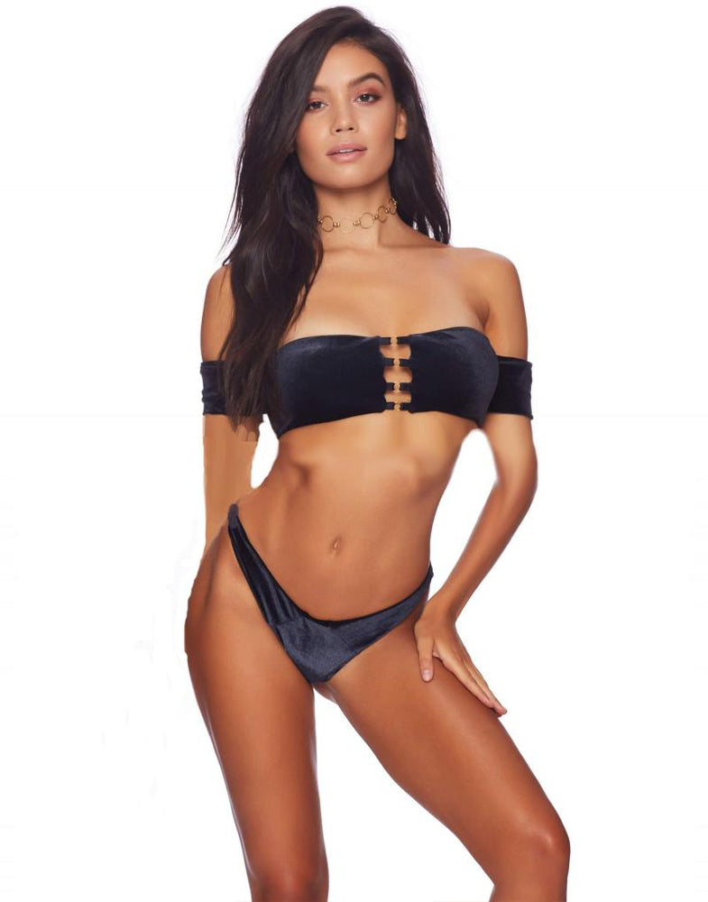 Beach Bunny Renegade Black Velvet Off Shoulder Top & Sydney Tango Thong Bottom Bikini Swimwear