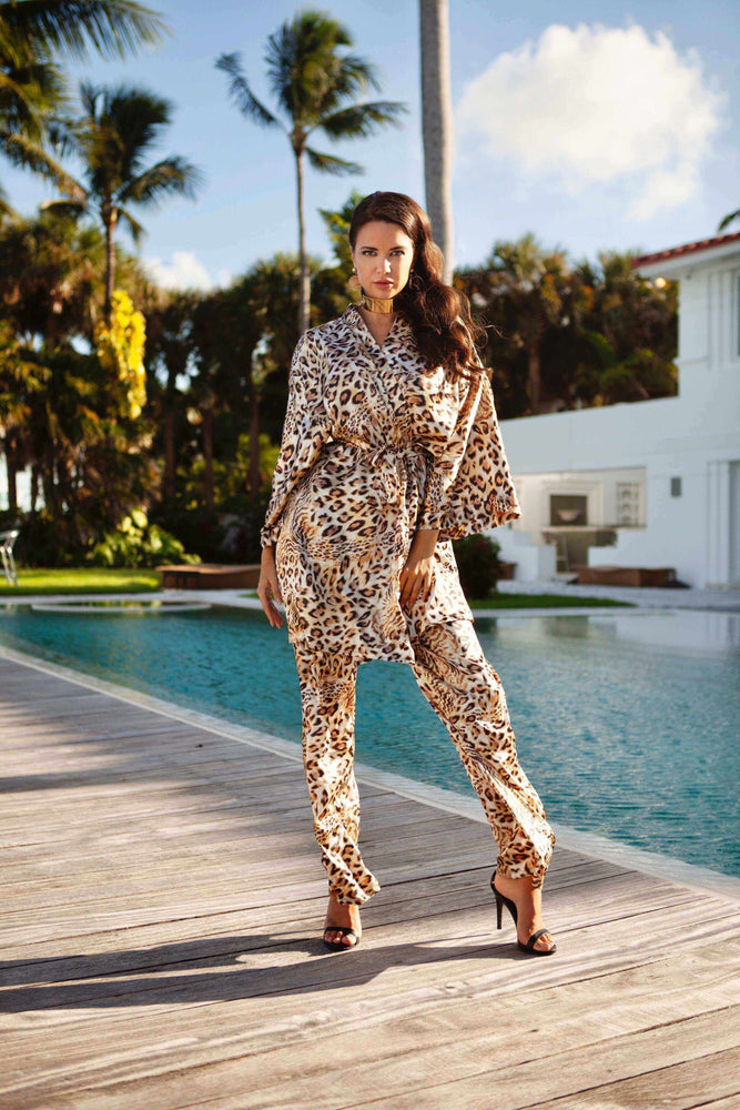 Cioccolato Couture Apparel & Accessories > Clothing > Pants Small / Print Cioccolato Couture Monica Lion Short Kimono & Pants Set Cioccolato Couture Monica Lion Luxury Short Kimono & Pants Set | SHOP NOW