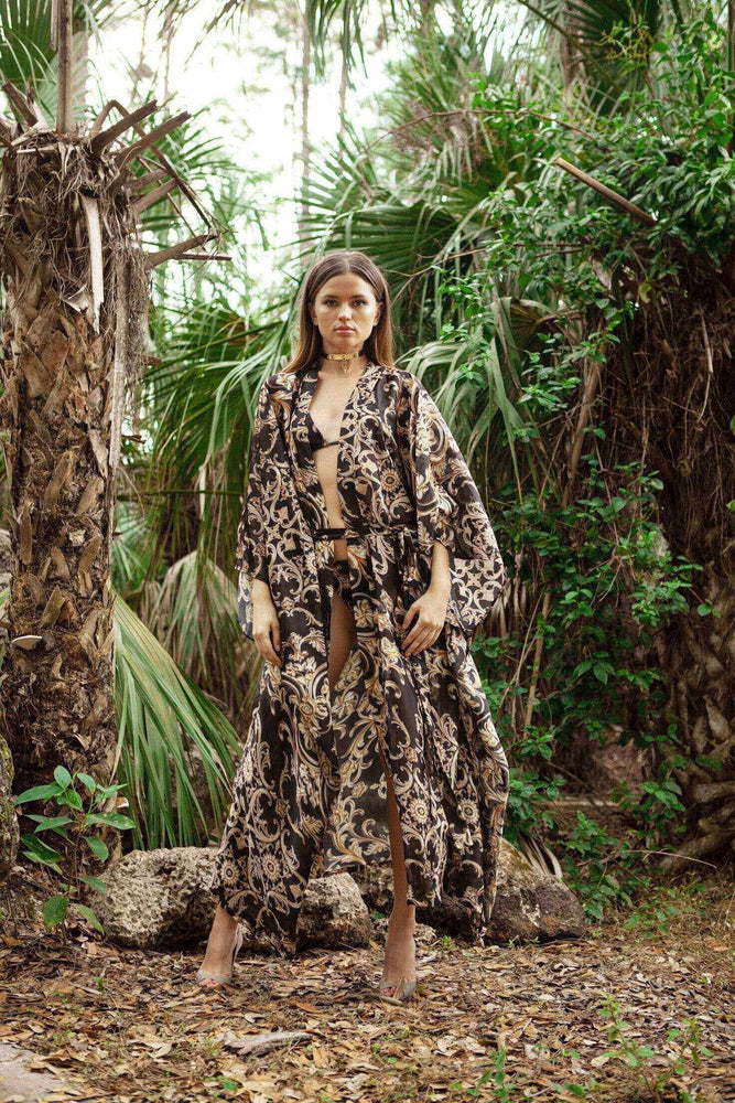 Cioccolato Couture Apparel & Accessories > Clothing > Swimwear Small / Print Cioccolato Couture Maria Kimono Donatella Cover-up Cioccolato Couture Maria Kimono Donatella Cover-up Luxury Resort Wear