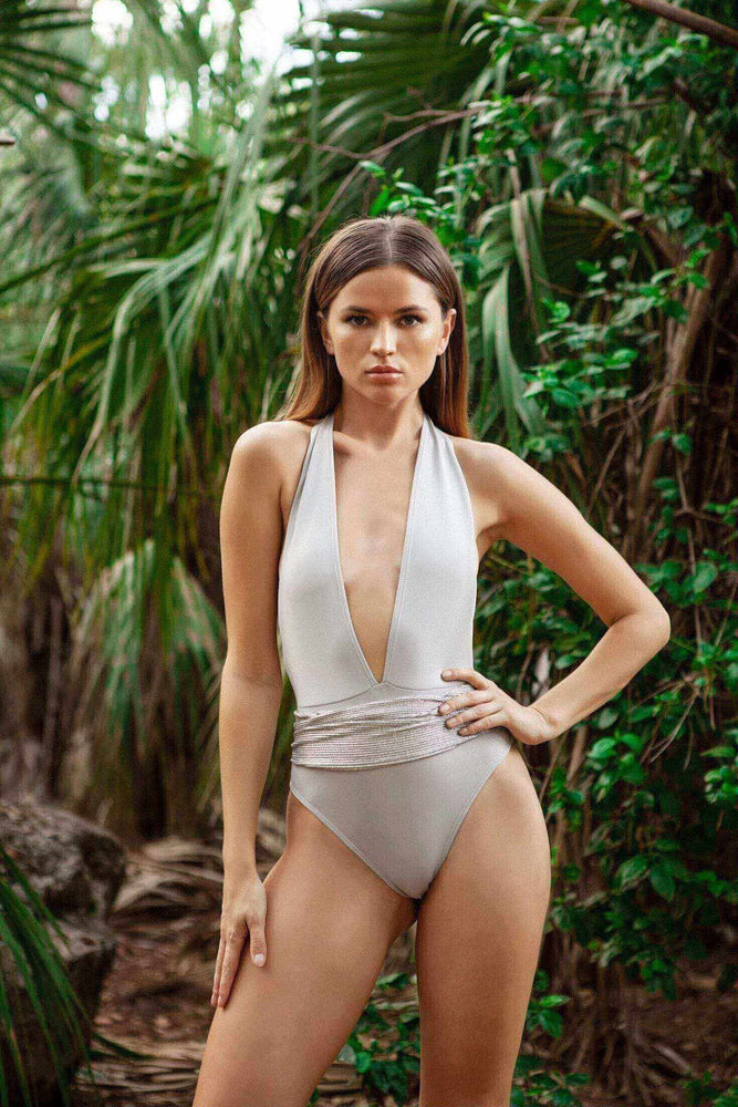 Cioccolato Couture Allise Silver One Piece Swimsuit (Many colors available)