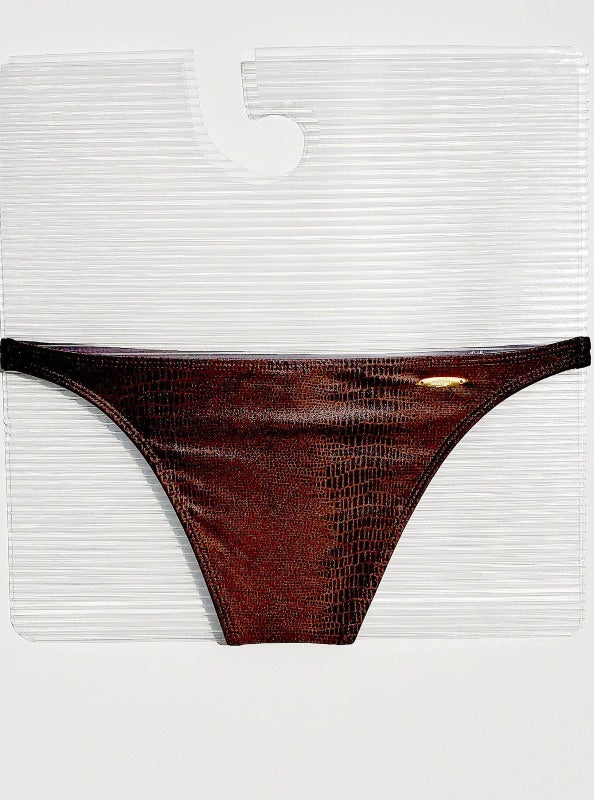 Corpo Bonito Apparel & Accessories > Clothing > Swimwear Brown Alligator Embossed Print Cheeky Bikini Corpo Bonito Brown Alligator Embossed Cheeky Bikini