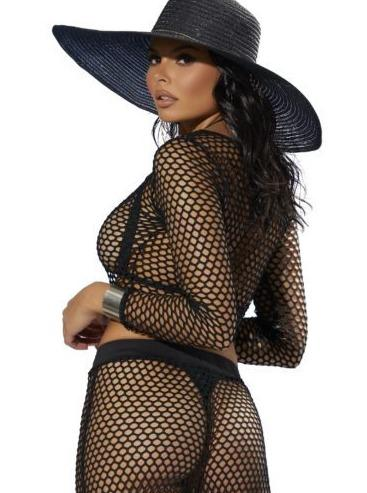 Elegant Moments Apparel & Accessories > Clothing > Swimwear Black Mesh Net Long Sleeve Crop Top Luxury Black Mesh Net Long Sleeve Top | ELEGANT MOMENTS 82344B
