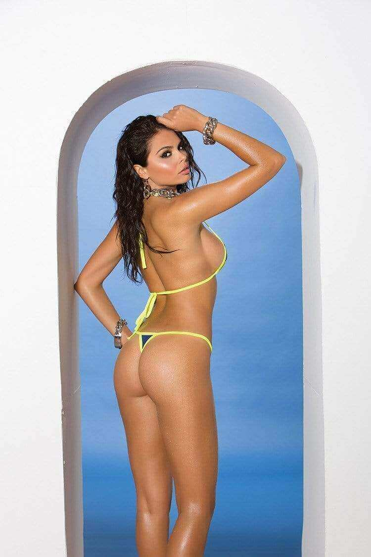 Elegant Moments Apparel & Accessories > Clothing > Swimwear One Size / Multi Colored Elegant Moments 81284 Extreme Micro Blue with Yellow Trim G-String Thong Bikini Swimwear Set Micro Blue with Yellow Trim G-String Thong Bikini