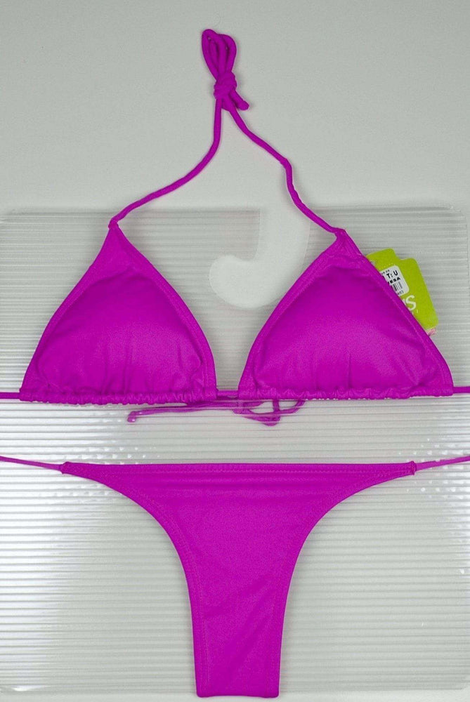 Irgus Swimwear Apparel & Accessories > Clothing > Swimwear One Size / Purple Black 3 Piece Set Triangle Top, Side Tie Thong & Side Tie Scrunch Bottom Bikini Swimsuit (Many colors available) Irgus Black Thong G-String Scrunch Bikini Swimsuit | SHOP NOW