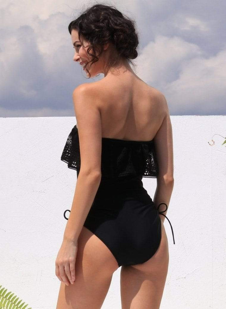 Jolidon Apparel & Accessories > Clothing > Swimwear Black w/ Crochet Ruffle Luxury One Piece Swimsuit Black w/ Crochet Ruffle Luxury One Piece Swimsuit Jolidon 2492 | SHOP NOW