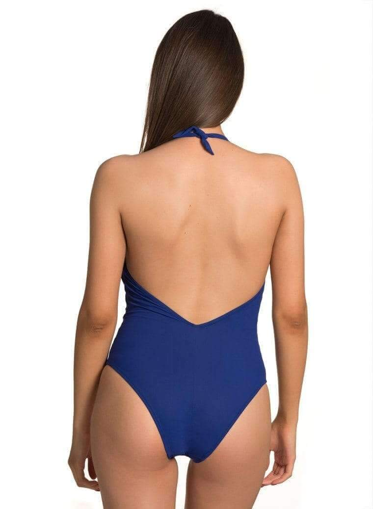 Jolidon Apparel & Accessories > Clothing > Swimwear Large / Blue Blue w/ Aqua Trim Deep Plunge One Piece Swimsuit Blue Aqua Trim Deep Plunge One Piece Swimsuit Jolidon #2506 Swimwear