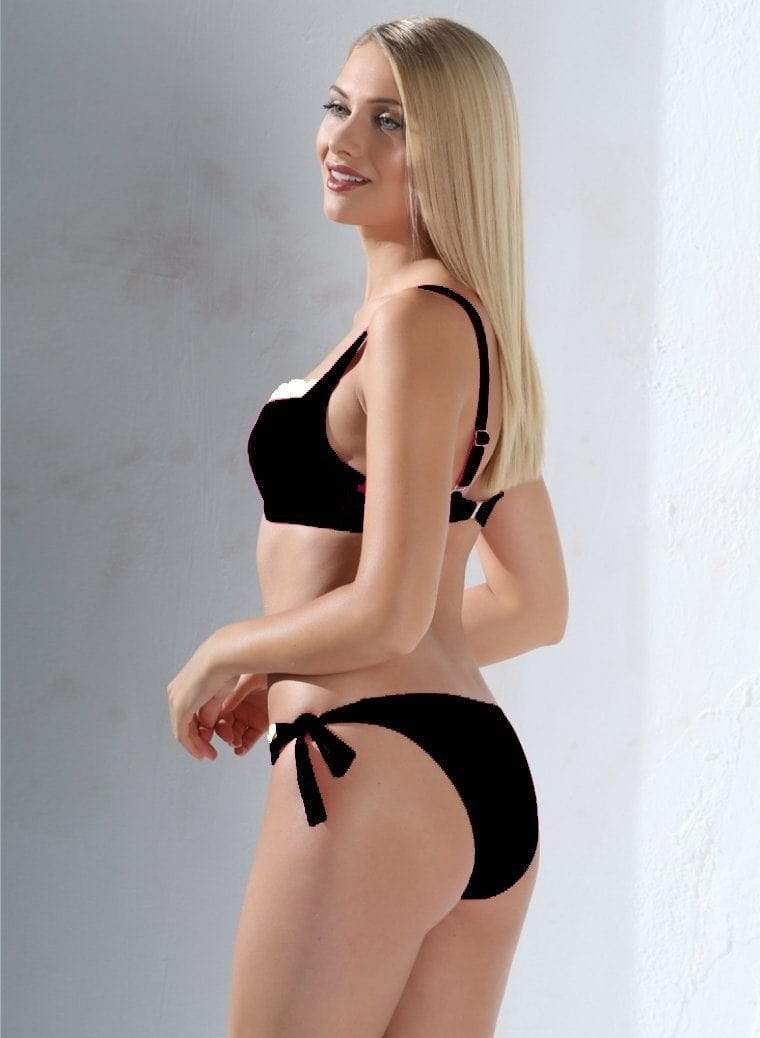 Jolidon Apparel & Accessories > Clothing > Swimwear Medium / Black Black w/ White Trim Underwire Top & Cheeky Rear Bottom Swimsuit Black White Underwire Top Cheeky Bikini Swimwear Swimsuit Jolidon 2562