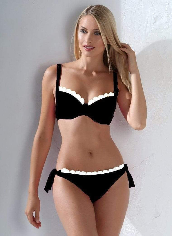 Black w/ White Trim Underwire Top & Cheeky Rear Bottom Swimsuit