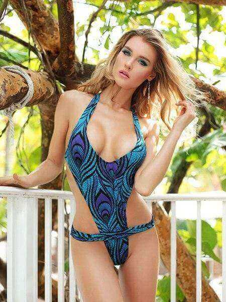 Lila Nikole Apparel & Accessories > Clothing > Swimwear Hot and Sexy One Piece Lila Nikole Blue Empress Brazilian Cut Swimwear Beachwear Swimsuit Lila Nikole Blue Empress One Piece  Swimsuit with Brazilian Cut Bottom