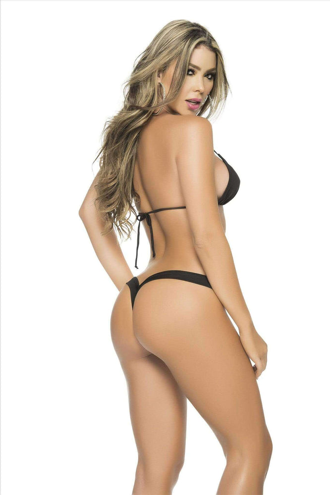 Mapale Apparel & Accessories > Clothing > Swimwear Black / S/M Mapale Micro V-Shape Strap Thong Bikini Bottom (Many Colors Available) Mapale 1075 pink white black wet green orange Micro V-Shape Strap Thong Bikini Bottom (Many Colors Available)