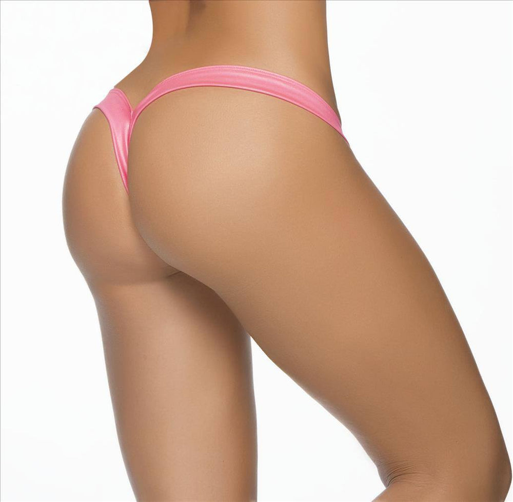 Mapale Apparel & Accessories > Clothing > Swimwear Pink / S/M Mapale Micro V-Shape Strap Thong Bikini Bottom (Many Colors Available) Mapale 1075 pink white black wet green orange Micro V-Shape Strap Thong Bikini Bottom (Many Colors Available)