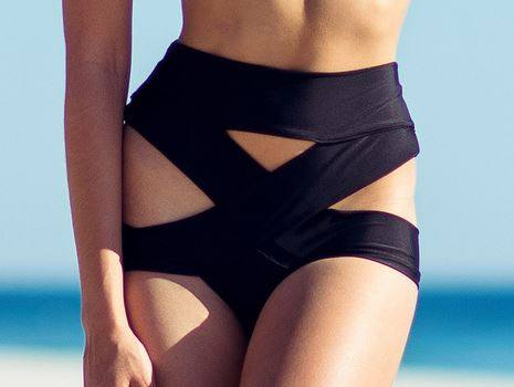 Montce Swim Black Criss-Cross Swimsuit Bottom