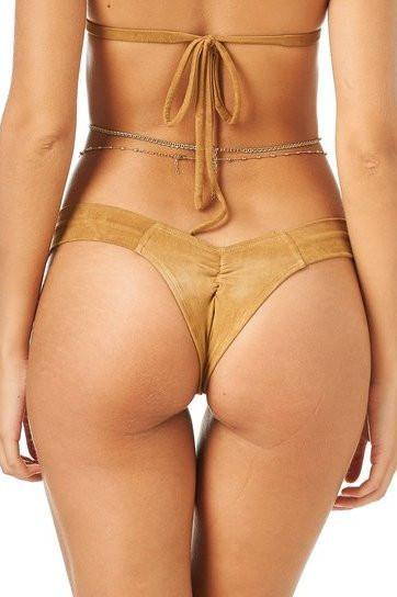 Montce Swimwear Apparel & Accessories > Clothing > Swimwear Medium / Nude Montce Swim Tan Faux Suede Uno Swimsuit Swimwear Bottom