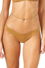 Montce Swim Tan Faux Suede Uno Swimsuit Swimwear Bottom