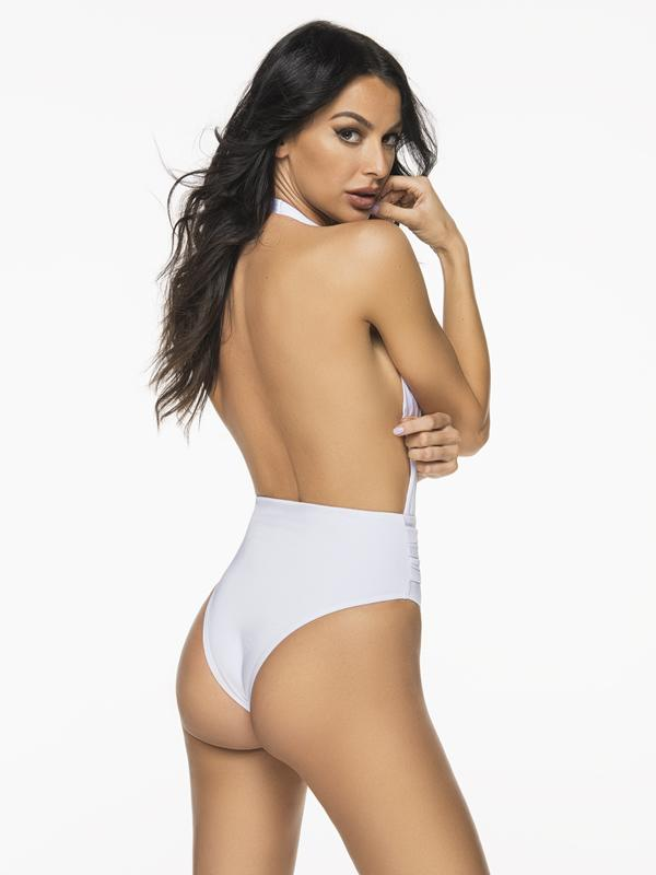 Montoya Apparel & Accessories > Clothing > One Pieces > Jumpsuits & Rompers Liliana Montoya Trikini Shell Shiny White One Piece Bikini