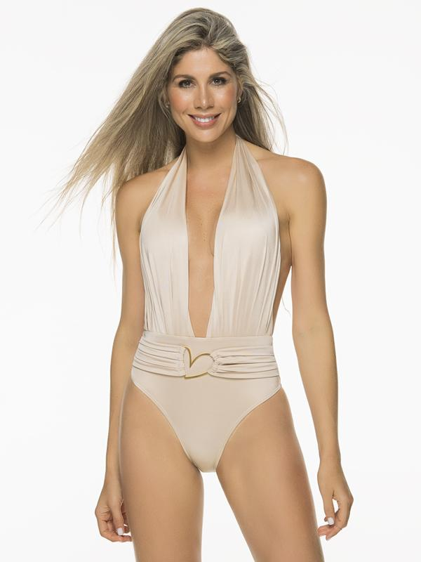 Liliana Montoya Trikini Shell Shiny White Nude One Piece Bikini
