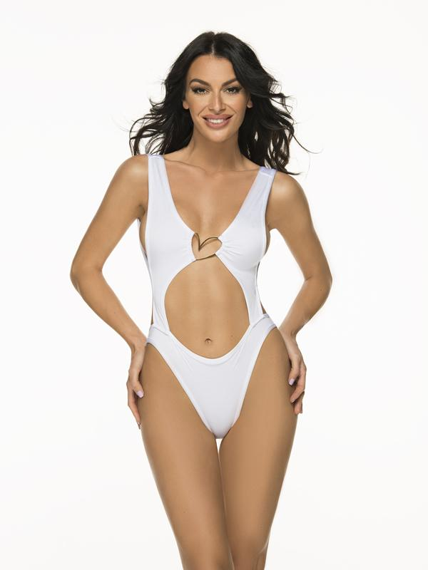 Montoya Apparel & Accessories > Clothing > One Pieces > Jumpsuits & Rompers Small / White Liliana Montoya Trikini Azalea Shiny White One Piece Bikini