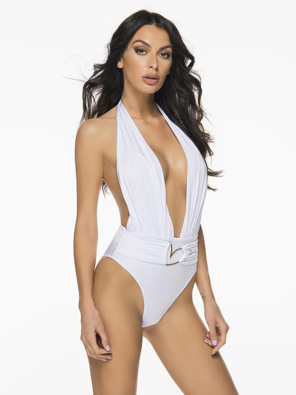Liliana Montoya Trikini Shell Shiny White One Piece Bikini