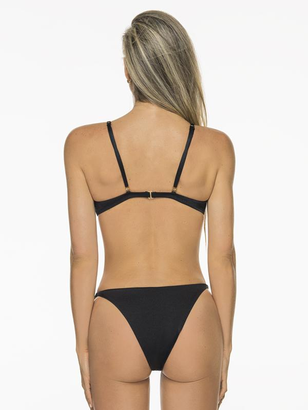 Montoya Apparel & Accessories > Clothing > Swimwear Liliana Montoya Bikini Camelia Black Shiny Bottom Bikini Swimwear Separate