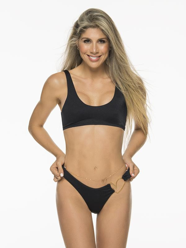 Montoya Apparel & Accessories > Clothing > Swimwear Liliana Montoya Black Bikini Heart Shiny Bottom Bikini Swimwear Separate