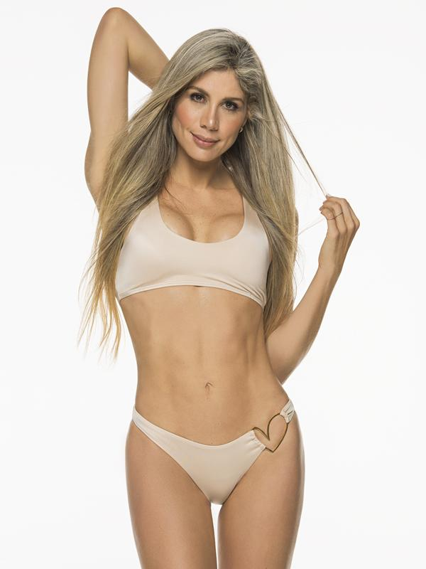 Montoya Apparel & Accessories > Clothing > Swimwear Liliana Montoya Nude Bikini Heart Shiny Bottom Bikini Swimwear Separate