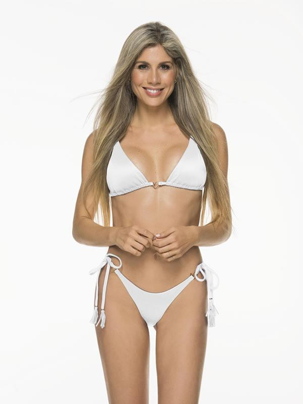 Montoya Apparel & Accessories > Clothing > Swimwear Liliana Montoya White Bikini Marinera Shiny Bottom Bikini Swimwear Separate