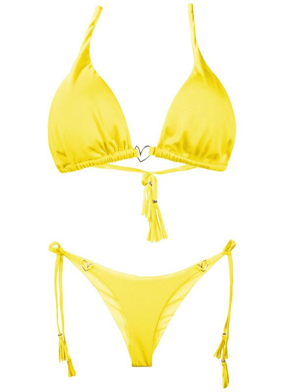Liliana Montoya Yellow Bikini Marinera Shiny Tops & Bottom Bikini Swimwear Set