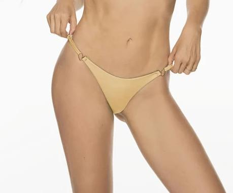 Montoya Apparel & Accessories > Clothing > Swimwear Small / Gold Liliana Montoya Gold Bikini Marinera Top Double Straps Bottom Bikini Swimwear Separate