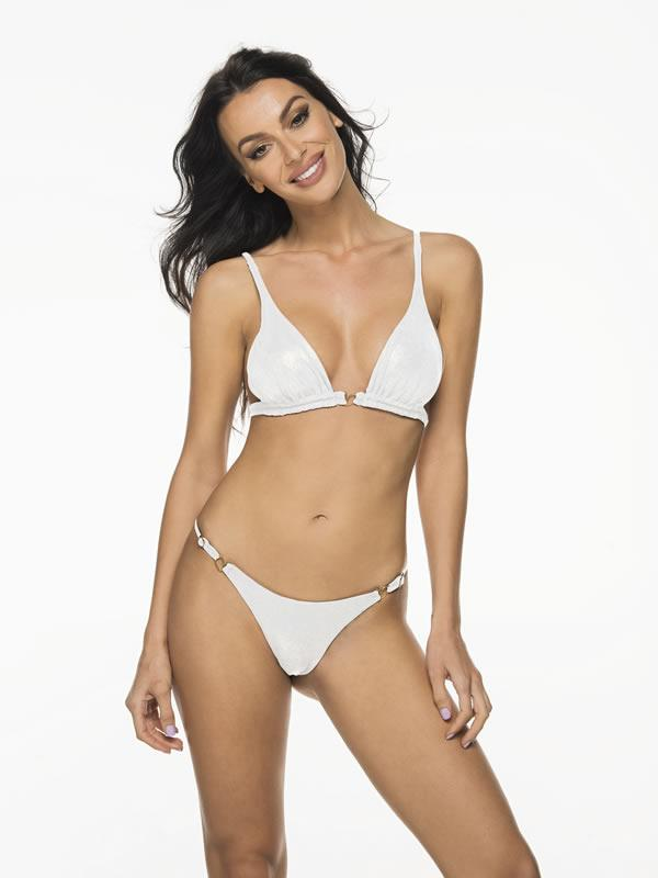 Liliana Montoya Shiny White Bikini Marinera Top Double Straps & Bottom Bikini Swimwear Set