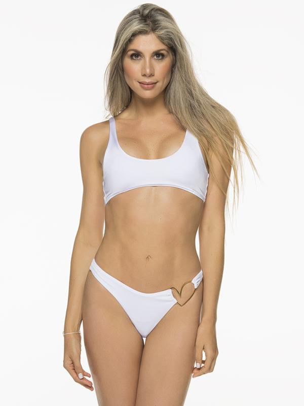 Montoya Apparel & Accessories > Clothing > Swimwear Small / Small / White Liliana Montoya White Bikini Bottom Heart Shiny Top & Bottom Bikini Swimwear Set