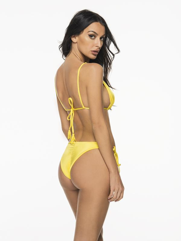 Montoya Apparel & Accessories > Clothing > Swimwear Small / Small / Yellow Liliana Montoya Yellow Bikini Marinera Shiny Tops & Bottom Bikini Swimwear Set