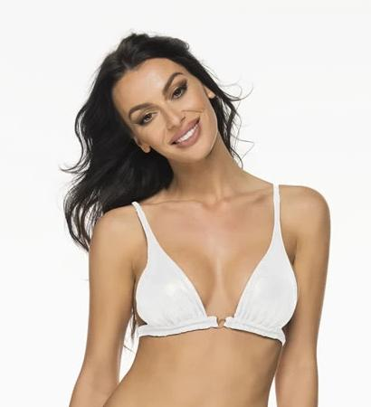 Montoya Apparel & Accessories > Clothing > Swimwear Small / White Liliana Montoya Shiny White Bikini Marinera Top Double Straps Bikini Swimwear Separate