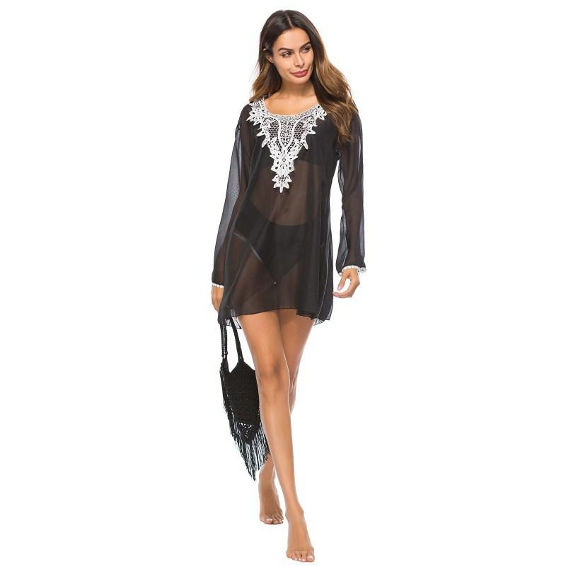SoHot Swimwear Apparel & Accessories > Clothing > Dresses Black Sheer w/ Lace Edge V-Neck Beach Sun Dress Cover Up Resort Wear