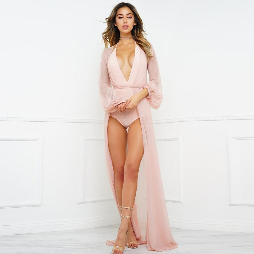 SoHot Swimwear Apparel & Accessories > Clothing > Dresses Nude Sheer Long Beach Cover Up Beige Nude Sheer Long Beach Sun Dress Cover Up Resort Wear