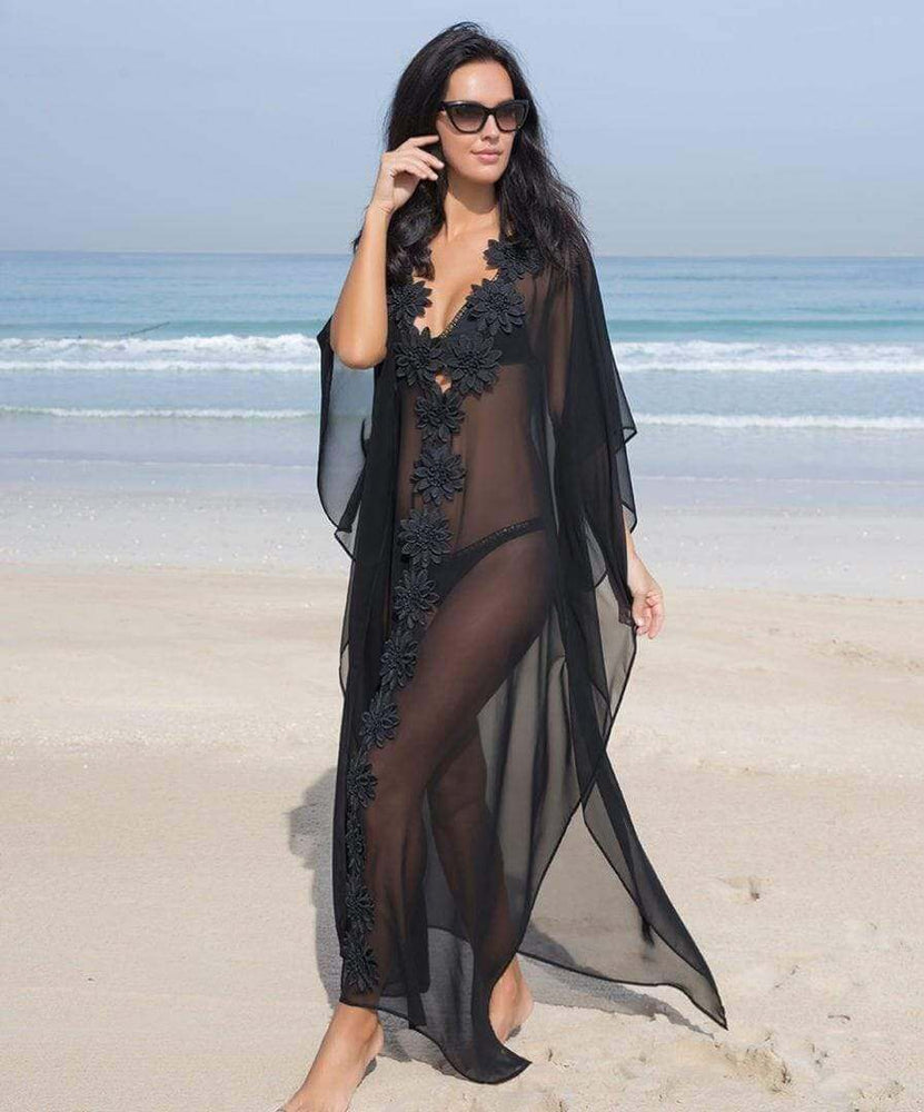 SoHot Swimwear Apparel & Accessories > Clothing > Dresses One Size / Black Black Sheer Deep Plunge w/ Flower Detail Long Beach Cover Up Black Sheer Deep Plunge w/ Flower Detail Long Beach Cover Up | SHOP NOW |