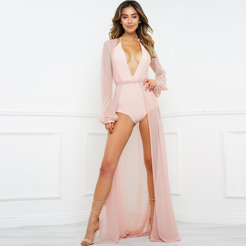 SoHot Swimwear Apparel & Accessories > Clothing > Dresses One Size / Pink Black Sheer Long Beach Cover Up Black Sheer Long Beach Cover Up Resort Wear