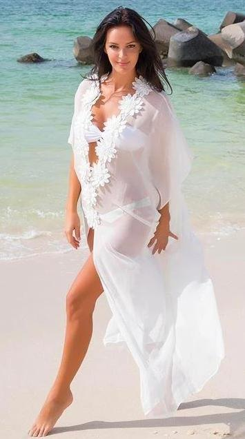 SoHot Swimwear Apparel & Accessories > Clothing > Dresses One Size / White White Sheer Deep Plunge w/ Flower Detail Long Beach Cover Up White Sheer Deep Plunge w/ Flower Detail Long Beach Cover Up | SHOP NOW |