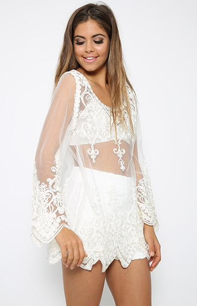 SoHot Swimwear Apparel & Accessories > Clothing > Dresses One Size / White White Sheer Mesh w/ Swirl Lace Overlay Detail Short  Dress Cover Up Resort Wear Beach Sun