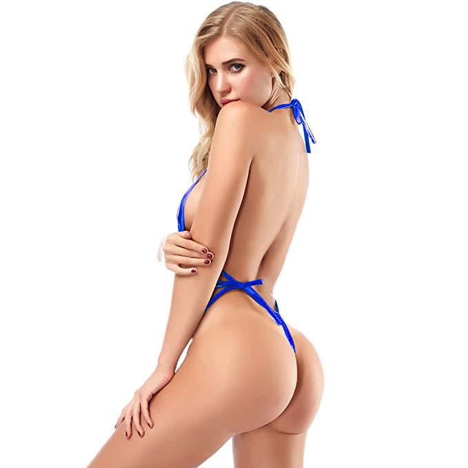 SoHot Swimwear Apparel & Accessories > Clothing > Swimwear One Size / Black Metallic Blue Extreme Micro Sling Shot Thong G-String Monokini One Piece Swimsuit Metallic Blue Extreme Micro Sling Shot Thong G-String Bikini Swimsuit