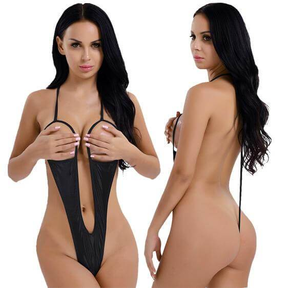 SoHot Swimwear Apparel & Accessories > Clothing > Swimwear One Size / Black Metallic Gold Extreme Open Bust & Crotch Thong G-String One Piece Swimsuit Metallic Gold Bikini Micro Open Bust Crotch Thong G-String Swimsuit