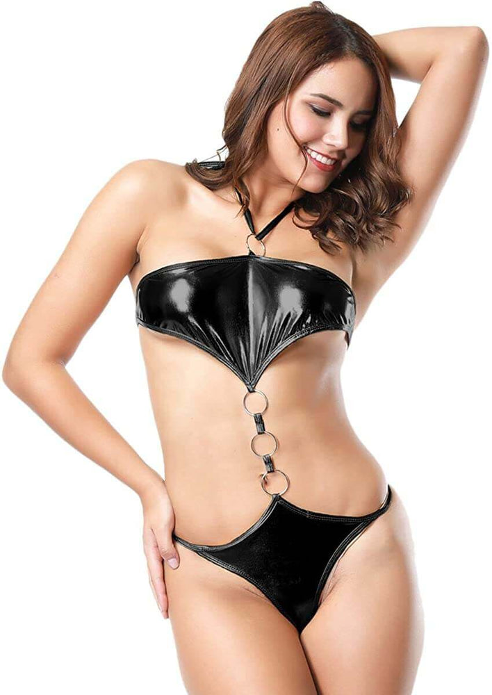 SoHot Swimwear Apparel & Accessories > Clothing > Swimwear One Size / Black Purple Metallic 3 Ring Thong G-String Monokini Swimsuit (Many colors available) Purple Metallic 3 Ring Micro Extreme Thong G-String Swimsuit